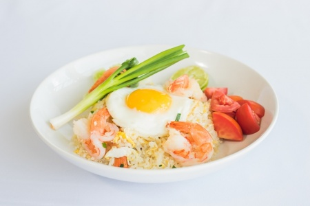 Fried Rice With Shrimp And Fried Egg