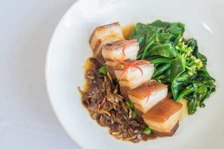 Soya braised pork belly with Hong Kong kale