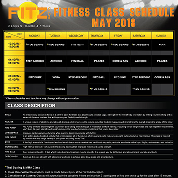 Fitz Club Class Schedule May 2018
